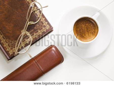 Glasses, Coffee, Book.