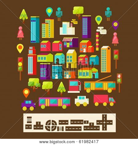 Set of city infographics in a flat style