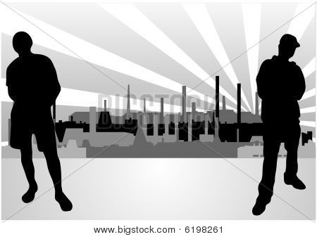 Set of different industrial buildings in vector