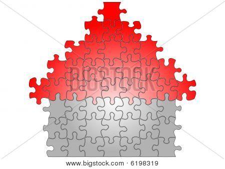 Puzzle house illustration