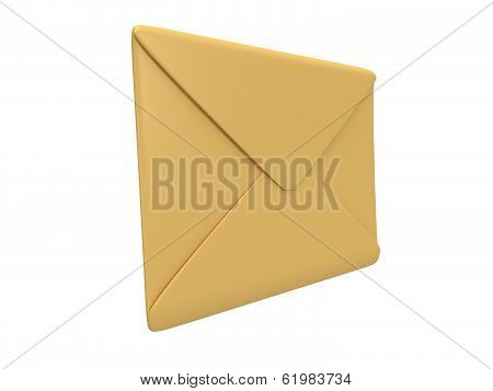 Blank mail envelope over white