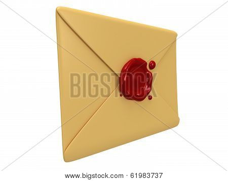 Blank mail envelope with red wax seal