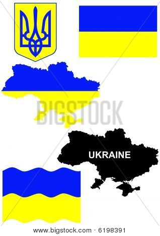 Ukrainian flag on country map vector illustration