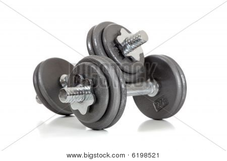Set Of Dumbells On White
