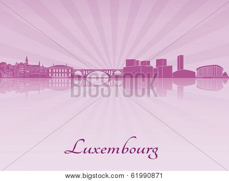 Luxembourg Skyline In Purple Radiant Orchid