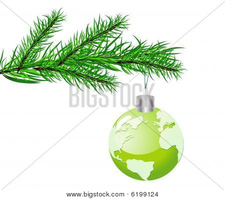 Christmas concept with globe. Vector