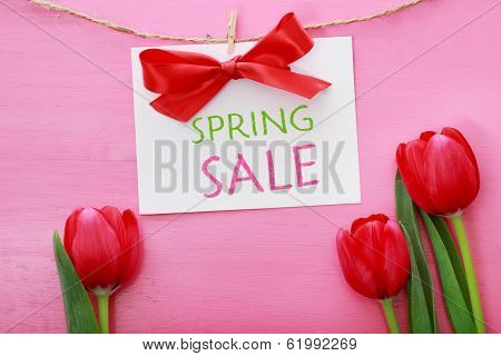 Spring Sale Sign With Red Tulips