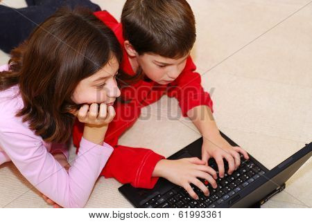 Portrait of brother and sister looking into computer