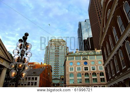 Buildings in downtown Boston on a bright sunny day