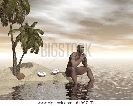 Homo erectus thinking alone - 3D render
