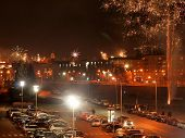The Fireworks And Light In Vilnius - Lithuania Capital Celebrates The New 2014 Year
