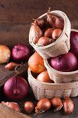 image of red shallot  - Set of golden red onions and shallots in the basket - JPG