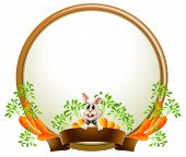 Illustration of a round empty template with a rabbit on a white background