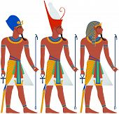 stock photo of clip-art staff  - Vector illustration of ancient Egypt Pharaoh three pack - JPG