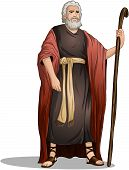 stock photo of clip-art staff  - Vector illustration of Moses standing for Passover - JPG