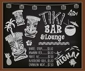 stock photo of tiki  - Tiki Bar and Lounge Chalkboard Cocktail Menu  - JPG