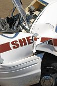 pic of rear-end  - The results of a high speed pursuit on a Sheriff patrol car  - JPG