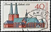 GERMANY- CIRCA 1973: stamp printed in Germany shows Lubeck Cathedral circa 1973