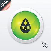stock photo of teardrop  - H2O Water drop sign icon - JPG