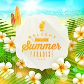 stock photo of frangipani  - Banner with summer greeting and frangipani flowers against a  tropical  shore seascape with surfboards   - JPG