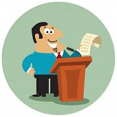 pic of tribunal  - Business boss character with paper document at tribune with microphone on public conference concept isolated vector illustration - JPG