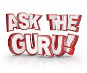 picture of guru  - Ask the Guru 3D Words Advice Help Assistance Expert - JPG