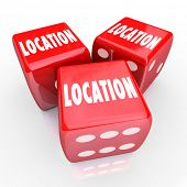stock photo of disadvantage  - Location Words Three Red Dice Best Best Place Area - JPG