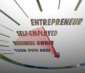pic of self-employment  - Entrepreneur Word Speedometer Self Employed Business Owner - JPG