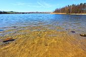 Pure water in The Bolevak Lake ( Bolevecky rybnik ). Famous destination in Pilsen city. Czech Republ