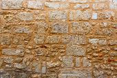 picture of stonewalled  - Menorca castle stonewall ashlar masonry wall texture antique in Balearic islands - JPG