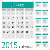 Simple european 2015 year vector calendar