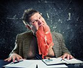 image of pervert  - Crazy businessman with meat - JPG