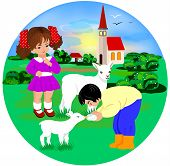pic of shepherdess  - kids and lambs on the meadow vector - JPG
