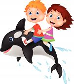 picture of orca  - Vector illustration of Cartoon Boy and girl riding orca - JPG