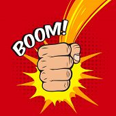 foto of clenched fist  - Clenched power fist boom pow abstract hit vector illustration - JPG