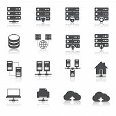 stock photo of node  - Online internet hosting technology pictograms set of network server infrastructure data center services isolated hand drawn sketch vector illustration - JPG