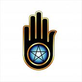 stock photo of pentacle  - Hand with a Pentacle - JPG