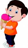 image of licking  - Vector illustration of Cute boy cartoon licking ice cream - JPG