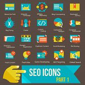 pic of submissive  - seo icons set part 1 Flat design modern vector illustration icons set of seo website optimization and technology development - JPG