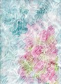 Abstract Watercolor With Batik-like Curves White Hand Draw