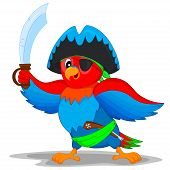 stock photo of pirate hat  - colorful parrot in pirate costume with a knife and a gun - JPG