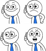 picture of sneaky  - Hand drawn cartoon businessman calling on phone set of four - JPG