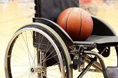 picture of physically handicapped  - A Basketball on a wheelchair basketball game - JPG
