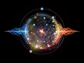 pic of quantum  - Abstract concept of atom and quantum waves illustrated with fractal elements - JPG