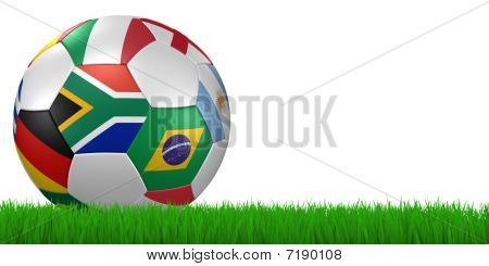 2010 Soccer Ball In Grass - Clipping Path