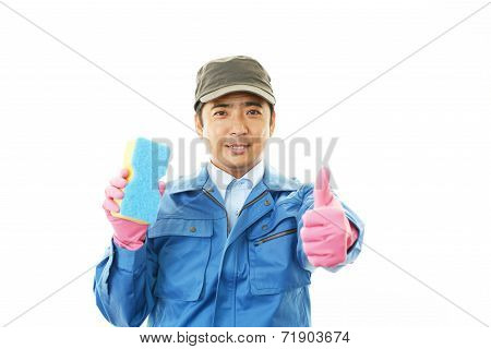 Working Asian janitor