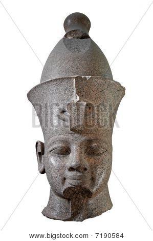 Cabeça de pedra preta de um faraó egípcio