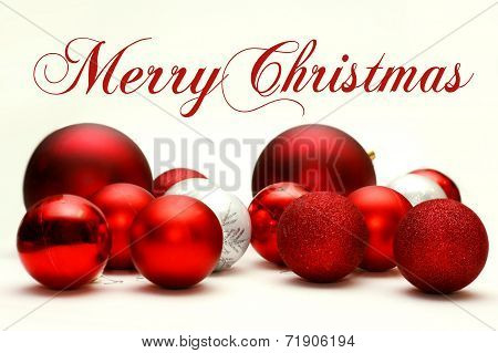 Christmas Decorative Bulbs Scattered With Text Merry Christmas