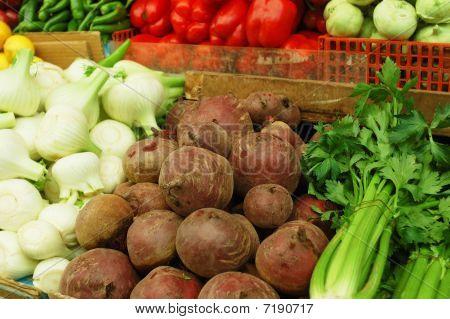 Vegetables On Market Stand