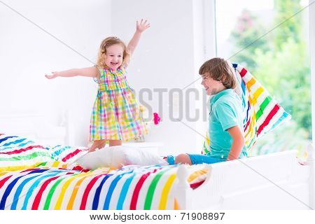 Kids Having Pillow Fight